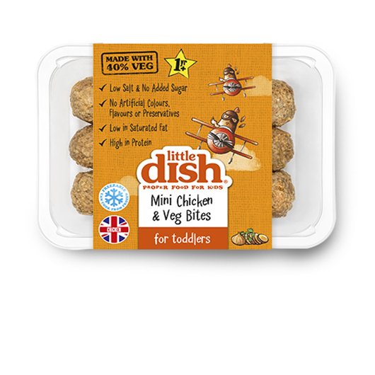 Our yummy Mini Chicken & Veg Bites are made with 40% veg, and perfect for little ones who are learning to feed themselves.  Inside each tasty bite, curious foodies will discover tender chicken, tasty sweet potato, making them a delicious savoury snack. Our Mini Chicken & Veg Bites can be eaten hot or cold, so they're a perfect on-the-go snack or fun lunchbox filler. Serve with a little pot of hummus for dipping, or with cous-cous and veg for a nutritious toddler tea.