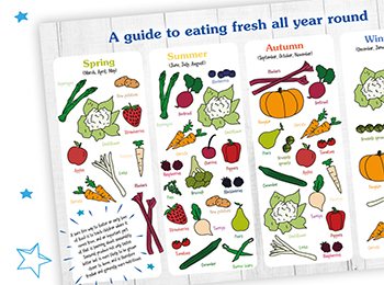 Check out our 'eat in season' chart, to help little ones learn about seasonality.