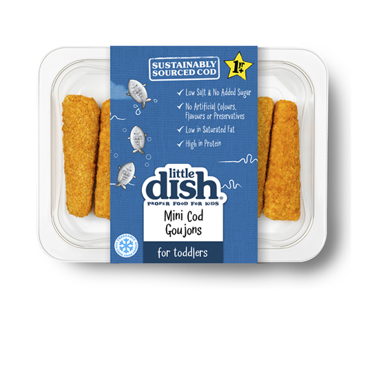 Our delicious Mini Cod Goujons are made with 100% sustainably sourced, protein-packed Atlantic cod, and covered in crispy, golden breadcrumbs. They're low salt, with no added sugar, making them a healthy way to get plenty of fish into your Tiny Taster. Serve our crispy Mini Cod Goujons with sweet potato wedges and mushy peas for a tasty toddler tea or in a wholemeal wrap, with cucumber slices, for a fresh take on a fish finger sandwich.
