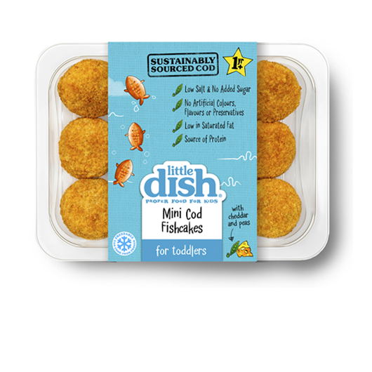 Our melt-in-the-mouth Mini Cod Fishcakes are made with 100% sustainably sourced Atlantic cod fillet, a creamy Cheddar cheese sauce, petits pois and fluffy mashed potato, covered in a crispy golden crumb. Serve as a protein-packed savoury snack, in yummy mini cod burgers or as part of a main meal with mashed sweet potato and veg.