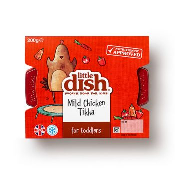 One of the nation's favourite curries, tailored for toddlers' nutritional needs. Our delicious Chicken Tikka is made with bite-sized pieces of British chicken, soft long-grain rice and a mildly-spiced tomato sauce. Plus, this tasty dish has 2 of your little one's 5 a day.